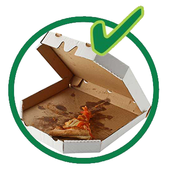 Organic recycling - take-out containers and cups, pizza boxes, etc are allowed - see list.